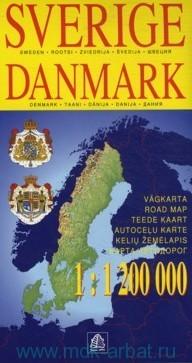 Sverige. Danmark = Швеция. Дания : карта автодорог : М 1:1 200 000