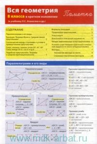 Вся геометрия 8-го класса в кратком изложении : к учебнику Л. С. Атанасяна и др. : памятка