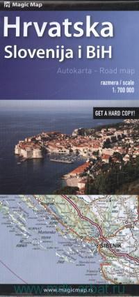 Hrvatska. Slovenija i BiH : Autokarta = Road Map : М 1:700 000