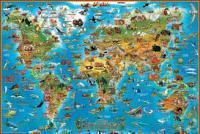 Детская карта мира. Животные (настольная)