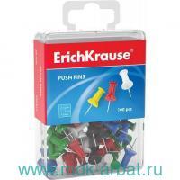 Кнопки-гвоздики «ErichKrause», 10 мм., 100 шт., силовые, цветные : Арт.19749 (ТМ ErichKrause)