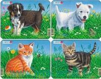 Пазл «Кошки и собаки» 4 шт. : Арт.mini M13 (ТМ Larsen)