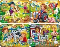 Пазл «Дети на ферме» 4 шт. (mini Z11) : Арт.Z11 (ТМ Larsen)