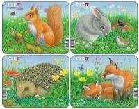 Пазл «Кролик, белка, лиса, еж» 4 шт. : Арт.Z12 (ТМ Larsen)