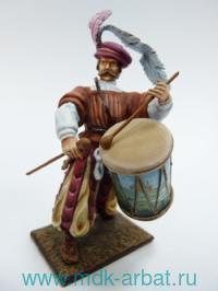 Оловянная миниатюра. Немецкий ландскнехт барабанщик. 1525 год (ТМ First Legion)