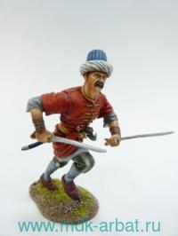 Оловянная миниатюра. Янычар с двумя саблями. Османская империя (ТМ First Legion)