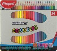 Карандаши 24 цвета «Color'Peps» металлическая коробка : Арт.832016 6 (ТМ Maped)