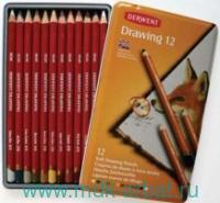 Карандаши цветные,12 цветов «Drawing», в металлическом пенале. Арт.D-0700671 (ТМ Derwent)