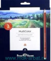 Карандаши 18 цветов «Multicolor» трехгранные европодвес : Арт.30-0003 (ТМ Bruno Visconti)