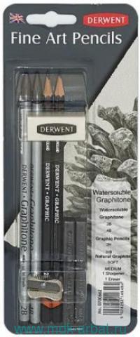 Карандаши чернографитные, 4шт.«Graphitone» + 2 графитных бока (мягкий и средний) + ластик + точилка, в блистере. Арт.D-0700662 (ТМ Derwent)