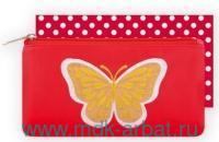 Пенал 21х11см «Бабочка на красном» молния кож/зам : Арт.40495 (ТМ Феник+)