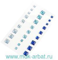 Стразы клеевые квадратные, 27 штук, сине-голубая гамма : арт.MG.GEM.103.3 (ТМ «Magic 4 Hobby»)