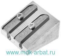 Точилка 2 отерстия, без контейнера, клиновидная, из магневого сплава : Арт.K-410/1040501 (ТМ KUM)