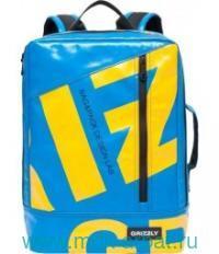 Рюкзак 29х40х10см голубой брезент глянцевый. Арт.RU-705-1 (ТМ GRIZZLY)