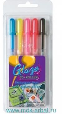 Ручки гелевые, 5цв.«Glaze», в блистере. Арт.СPGLA5B (ТМ Sakura)