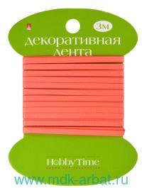 Лента декоративная : размер 3ммх3м, материал - атлас, цвет - неоновый персиковый : арт.2-613/16 (ТМ «Hobby Time»)