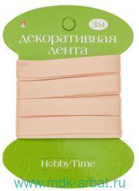 Лента декоративная : размер 9ммх3м, материал - атлас, цвет - персиковый : арт.2-614/16 (ТМ «Hobby Time»)