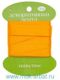 Лента декоративная : размер 15ммх3м, материал - атлас, цвет - оранжевый : арт.2-615/04 (ТМ «Hobby Time»)