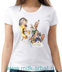 Футболка женская «Алиса. Чаепитие» : размер 46, цвет - молочный (ТМ «Книжная индустрия»)