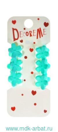 Заколки-крабики 1,8см 6 штук «Цветочки» в ассортименте : арт. 2-719/02 (ТМ «Decore Me»)