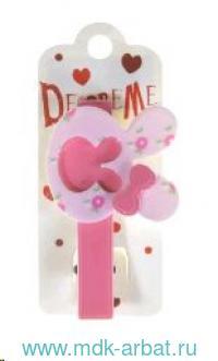 Заколка для волос : размер 7см «Бант на зайце» : цвет - розовый : арт. 2-719/32 (ТМ «Decore Me»)