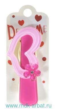 Заколка : размер 7см «Сердечко с цветком» : цвет - розовый-фуксия : арт. 2-719/40 (ТМ «Decore Me»)