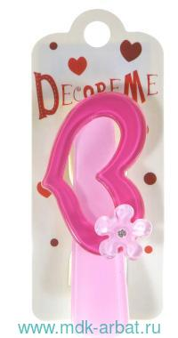 Заколка : размер 7см «Сердечко с цветком» : цвет - фуксия-розовый : арт. 2-719/43 (ТМ «Decore Me»)