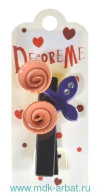 Заколка : размер 7см «Цветочки со стразами» : цвет бежево-фиолетовый : арт. 2-719/51 (ТМ «Decore Me»)
