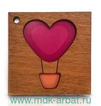 Открытка «Сердце»деревян. Арт.3.512