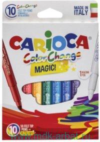 Фломастеры 10 штук «Color Change Magic» картонная коробка, с европодвесом : Арт.42737 (ТМ Carioca)