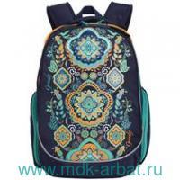 Рюкзак 30х39х20 «Цветочный принт» темно - синий : арт.RG-867-2 (ТМ Grizzly)