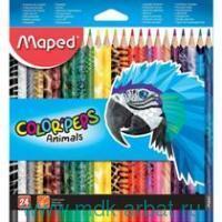 Карандаши 24 цвета «Color'Peps Animals» картонная коробка : Арт.832224 (ТМ Maped)