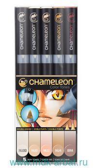 Маркеры «Chameleon. Scin Tones», 5цв., телесные тона (двусторонние). арт.CT0510 (ТМ Chameleon)