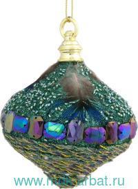 Новогоднее подвесное украшение 8 см., со стразами, мехом и перьями : Арт.78494 (ТМ Феникс-Презент Новый год)