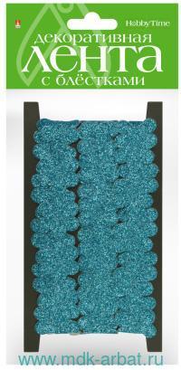 Лента декоративная «Цветочки» с глиттером, длина - 2м, цвет - голубой : арт.2-770/05 (ТМ «Hobby Time»)