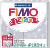 Глина полимерная 42г. «Fimo Kids», блестящий серебряный : арт.8030-812 (ТМ Fimo)