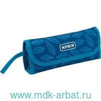 Пенал 20.5х8х4 «Листочки на синем» липучка, молния : Арт.K19-653-1 (ТМ Kite)