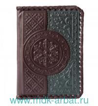 Обложка для паспорта : материал - натуральная кожа, цвет - коричнево-зеленый : арт. 009-08-41 (ТМ «Макей»)
