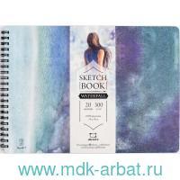Альбом для акварели размером 26х19 см, 20 листов плотностью 300 г/м2 «Waterfall», брошюровка - спираль : арт. 401428 (ТМ «Malevich»)