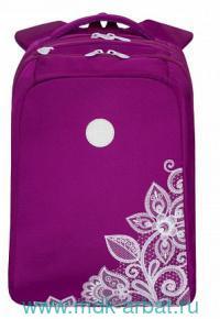 Рюкзак 26х39х17см «Цветы» цвет фиолетовый : Арт.RD-954-1 (ТМ Grizzli)