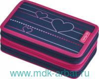 Пенал 19х11,5х7 см 31 предмет «Heartbeat» на молнии, сине-розовый : Арт.50021055 (ТМ Herlitz)