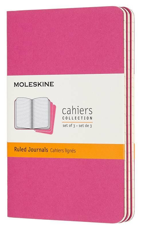 Книга для записей «Moleskine Cahier Journals Pocket» : формат А6, 32 листа, разлиновка: в линейку, мягкий переплет, розовая (комплект из 3 шт.) : арт. 1128342 (ТМ Moleskine)
