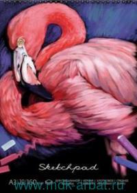Альбом для пастели формата А3, 30 листов «Фламинго» (черная бумага), брошюровка - спираль : арт. 49778 (ТМ «Феникс+»)