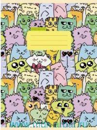 Тетрадь А4 48 листов клетка «Разноцветные коты» скрепка : Арт.Т4484589