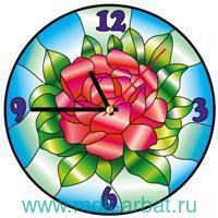 Часы-витраж 30см «Цвет розы» : арт. HV006 (ТМ Color Kit)