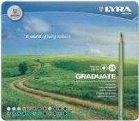 Карандаши 24 цвета гексагональные металлический пенал : Арт.L2871240 (ТМ Lyra)