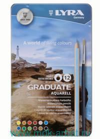 Карандаши 12 цветов акварельные металлический пенал : Арт.L2881120 (ТМ Lyra)