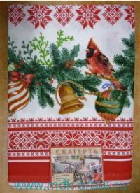 Скатерть 110х150см «Птица на красном» лен : арт.СЛ-11 (ТМ Chocoidea)