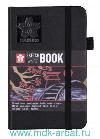 Блокнот для зарисовок 9х14 см., 80 л.«Sakura», бумага черного цвета, твердая обложка : Арт. 94141001