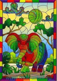 Набор «Блестящий витраж. Слон» : Арт.DT-1040-9V (ТМ Arte Nuevo)